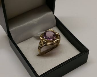 Ring Gold 333 Amethyst Shabby Vintage stainless GR418