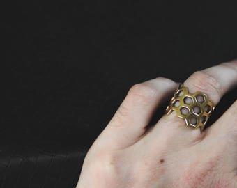 Honey Bee - Adjustable Ring - Bronze Or White Brass - Design - Geometry - Ethnic - Boho - Organic - Sacred Geometry - Cube - Pixies - Fairy