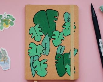Green leaves A6 notebook
