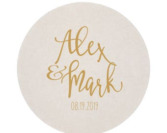 First Names Personalized Wedding Reception Coasters