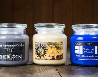 SuperWhoLock Soy Candles - Set of 3 - Supernatural | Doctor Who | Sherlock - Geek Gift Idea - Fandom Soy Candles