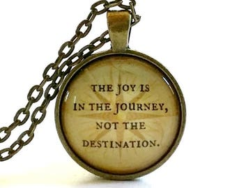 The Joy is in the Journey | Quote Necklace | Glass Pendant | Compass | Travel Gift |  Gift Idea | Free Gift Box | Journey Quote