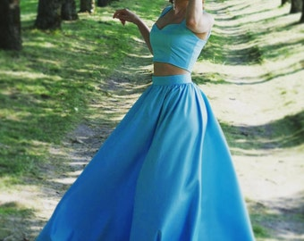 Long silk skirt Blue skirt Chiffon skirt Maxi skirt Bridesmaid skirt Floor length  Bridesmaid dress Full length Engagement dress gifts