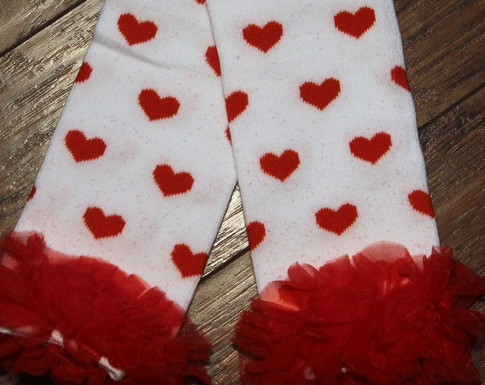 Valentine Leg Warmers, Baby and toddler girl leg warms,Red Hearts,Valentines Day accessories,Red and white leg warmers
