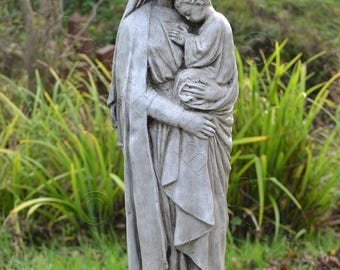 Madonna and Child religious statue frost proof stone home or garden ornament 51cm H