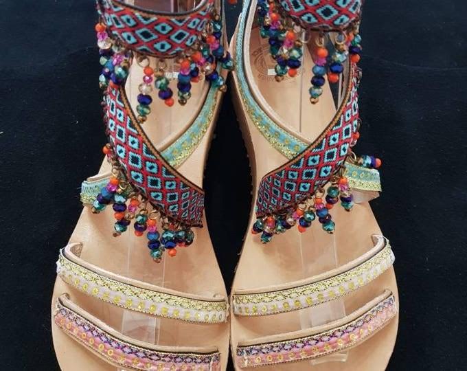 DHL FREE Greek sandals/gladiator sandals/beads sandals/boho sandals/ethnic/crystal sandals/handmade sandals/women's shoes/handmade /strappy
