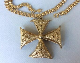 Accessocraft Gold Tone Double Maltese Cross Pendant Chain Necklace
