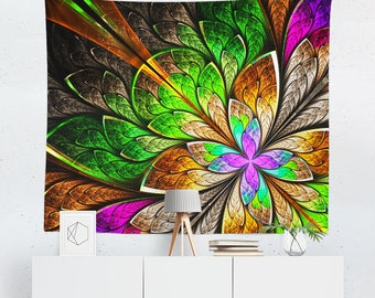 Floral Wall Tapestry | Floral Tapestry | Wall Hanging | Wall Decor |  Wall Art | Wall Tapestries | Floral Wall Hangings | Modern Tapestries