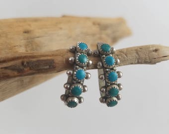 Vintage Native American old pawn green turquoise earrings  Sterling screw back earrings - Native American earrings  OY2656
