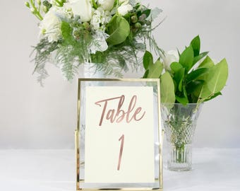 Ivory and Rose Gold Foil Table Numbers Handmade Wedding Style #0141