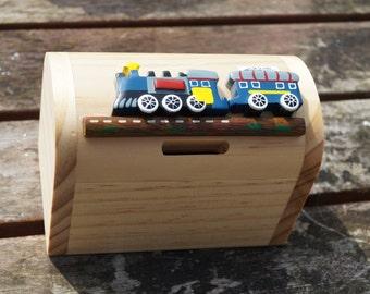 Childrens wooden money box, personalised money box,  train money box, treasure chest money box, childrens birthday gift, vehicle moneybox,
