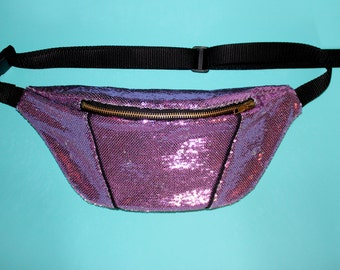 Sequinned baby pink bumbag/ festival bag/ fanny pack