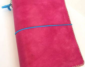 Stitched Leather Journal Cover, Stitched Series, Traveler's Notebook, Multiple Colors & Sizes, w/Pocket, Genuine Leather
