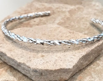 Sterling silver twisted cuff bracelet, twisted cuff bracelet, stackable sterling silver bracelet, sterling silver cuff, gift for her