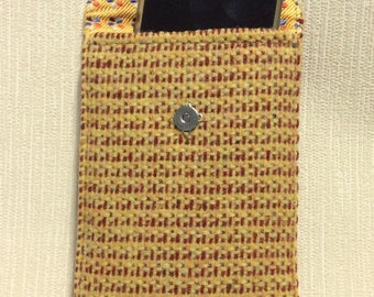 Welsh tweed phone case, cell case in yellow and red