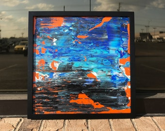 """Abstract Art // Paint Swipe Art // Original Artwork // White, Orange, Blue Painting // 12"""" x 12"""" Unique Painting // Frame Included"""