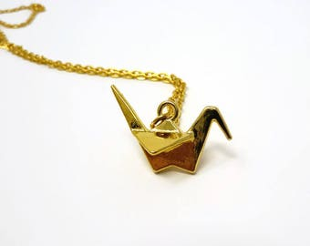 Origami Crane Pendant / Paper Crane Necklace / Origami Animal Necklace / Layering Jewellery / Origami Necklace / Foxy Gift / Wish Knots