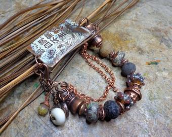 Boho chic bracelet, rustic, copper enamel ground, copper, artisan Lampwork beads.