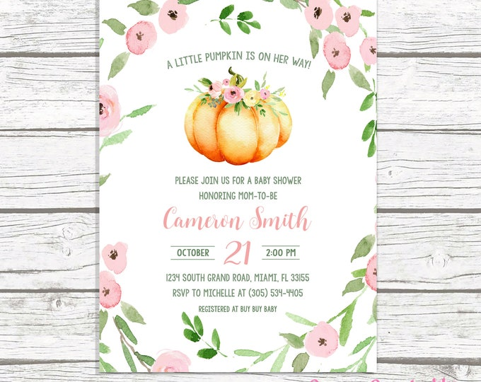 Pumpkin Baby Shower Invitation Girl, Little Pumpkin on the Way Baby Shower Invitation, Pink Pumpkin Baby Shower Invitation, Fall Baby Shower