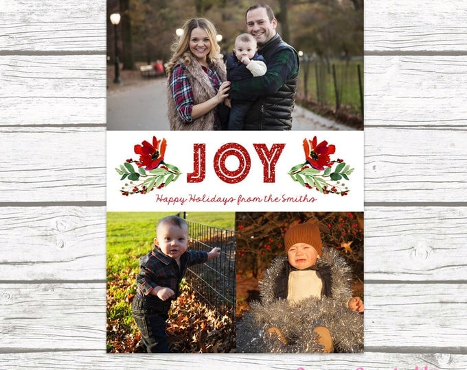 Floral Christmas Card, Holly Christmas Photo Card, Red Christmas Card, Holiday Photo Card, Christmas Picture Card, Leaf Christmas Card