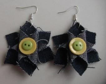Flower earrings, denim earrings, fabric flower earrings, fabric earrings, button earrings, drop earrings, flower jewellery, denim jewellery