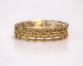 Vintage Estate Jewelry - Set of Five 22k Yellow Gold Bangles