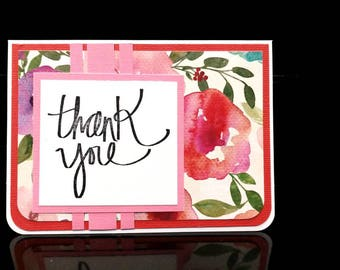 Red and Pink Floral Print Handmade Thank You Card