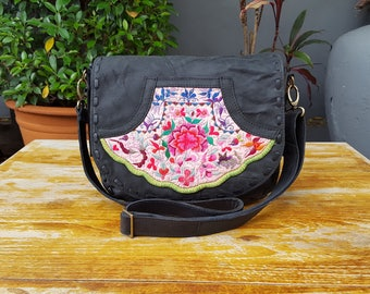 Chacoal Black Patchwork Leather and Vintage Miao Hilltribe Fabric Hippie Bohemian Crossbody Shoulder Bag