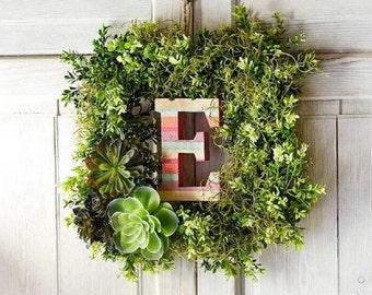 Boxwood monogram wreath; square boxwood wreath