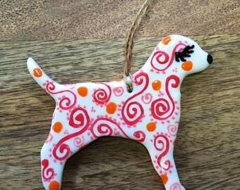 Porcelain Puppy Dog: Pink and Tangerine Doodles