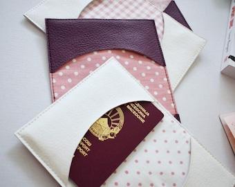 White passport holder, faux leather travel holder, passport cover, vegan leather documnets case