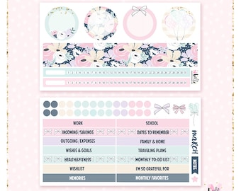 March Notes Page Kit (floral) - 2 sheets / for the Erin Condren planner notes pages