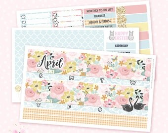 April Monthly View Sticker Kit - 3 sheets / for the Vertical Erin Condren