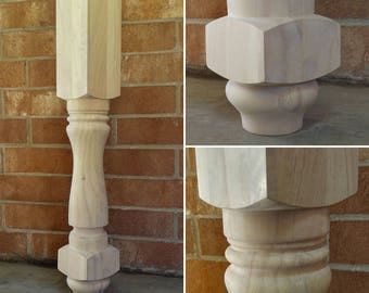 Unfinished Farmhouse Kitchen Island or Counter Height Table Legs- SINGLE leg