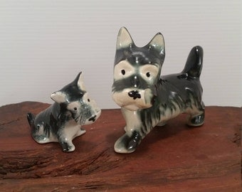 Vintage Pair of Terriers Scottie Dogs,Pair Of 1940's Ceramic Scottie Dogs, Father and Son Terrier Dogs in Ceramic from the 40's