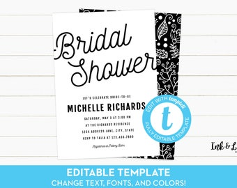 Black and White Bridal Shower - Customizable Bridal Shower Invitation - Templett Bridal Shower Invitation - Printable Invitation