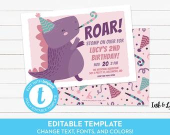 Dinosaur Birthday Invitation for Girl - Printable Dinosaur Invitation - Dinosaur Party Invite - Dino Birthday Invitation Girl - Templett