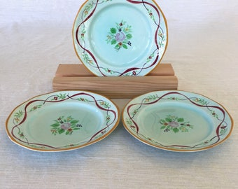 Adams China Co. of England, Calyx Ware, Ribbon Pattern, Hand-painted, 3 Bread/Dessert Plates, Early 1900s, Old Mark
