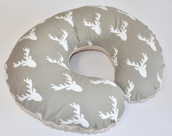 SHIPS TOMORROW - Deer Head on Taupe  Cover - deer, beige, buck head,nursing pillow cover, woodland nursery, boy , grey and navy