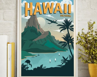 Hawaii Vintage Travel Poster, Travel, Decoration, Wall Art, Printable Poster, Exotic,Polynesia