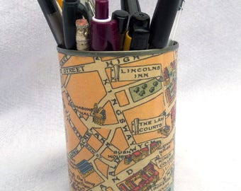 """FREE SHIPPING Pencil Tin, Pencil Pot, Upcycled Tin Can, London Town Illustrated Map Decoupage, Traditional Rhymes, Varnished Finish, 4.25"""""""