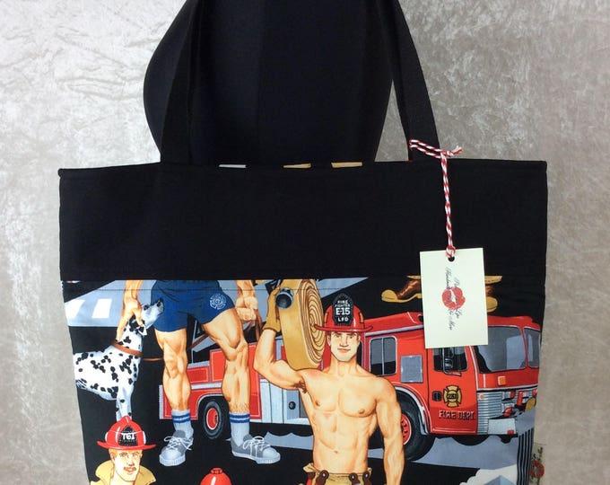 Hunky Firemen Ready For Action Day Bag Tote fabric handbag shoulder bag purse Alexander Henry Fireman Handmade in England