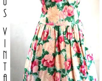 """Plus Size UK 16 Vintage 1950s Style Floral Tea Dress Circle Skirt Mad Men Rose Detail Cotton EU 44  US 12 Bust 42"""" 107cm"""