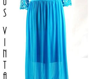 "UK 14 Tall Vintage 1970s Blue Chiffon Maxi Dress Floaty Crochet Lace Boho  EU 42 US 10 Bust 40"" 102cm"
