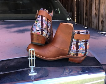 50% off Handcrafted leather booties with Guatemalan huipil