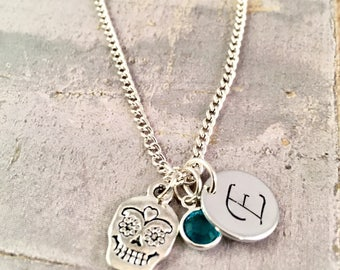 Skull charm necklace, Personalized initial necklace, sugar skull necklace, for birthday, party favor, Silver plated birthstone, for teen
