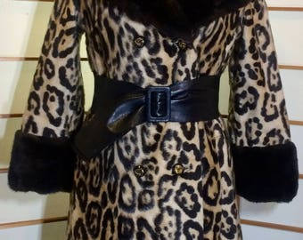 Vintage Leopard 60's Mod DOuble Breasted Coat S/M