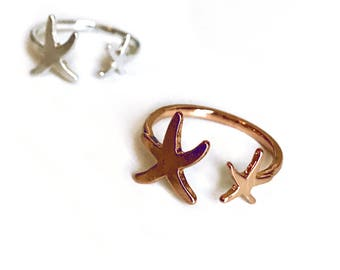 Adjustable Starfish Ring- Dainty ring, Adjustable ring, tropical ring, ocean ring, pineapple ring, starfish accessory