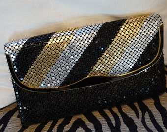 Another Y and S Originial/1980s Gold Silver and Black Metal Mesh Evening Bag/Clutch/ Studio 54 Style/ Disco Style
