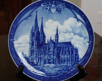 Cologne Cathedral/Kolner Dom/Furstenberg West German Plate/Anniversary Plate 1880-1980/ Blue and White German Porcelain/ Collectible Plate